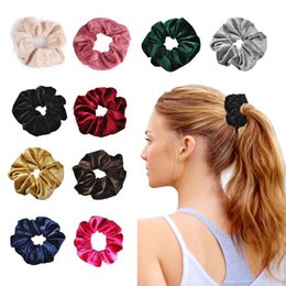 Stretchy ponytailS online shopping - 10 Soft Velvet Headband Hair Rubber Scrunchie Ponytail Donut Grip Loop Holder Stretchy Hair band Hair Ties Accessories