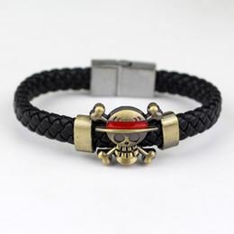 Pirate bracelets men online shopping - One Piece Bracelet Hand Woven PU Leather Pirate Charm Bracelets Wristband Cartoon Women And Man Kid Jewelry Fashion Gift gr UU