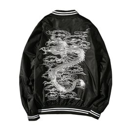 Wholesale good quality Dropshipping Suppliers Usa Dragon Embroidery Jacket China Style Fashion Black Coat Us Size Xs xl