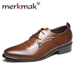 Size Pointed Flat Shoes NZ - Merkmak Men Dress Shoes Fashion Pointed Toe Lace Up Men's Business Casual Shoes Brown Black Leather Oxfords Flats Big Size 37-48