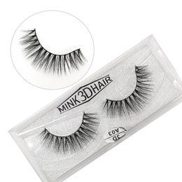 Real Mink False Eyelashes Australia - 3D A series 100% Real mink Eye Lashes Thick false Eyelashes a pair of false eyelashes with Crystal box DHL Free Shipping