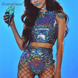 Clothes Pieces Australia - Festival Queen Holographic Crop Top And Hot Shorts Women 2 Piece Sets Sexy Lace Up Festival Party Rave Clothing Two Piece Set J190618
