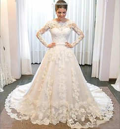 $enCountryForm.capitalKeyWord Australia - Fabulous Sheer Lace Long Sleeves Wedding Dresses White Puffy A Line 3D-Floral Appliques Vestido De Noiva 2019 Plus Size Women Bridal Dress
