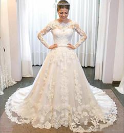 Gold White Puffy Wedding Dress NZ - Fabulous Sheer Lace Long Sleeves Wedding Dresses White Puffy A Line 3D-Floral Appliques Vestido De Noiva 2019 Plus Size Women Bridal Dress