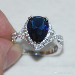 Pear Shape Rings Australia - Bohemian Delicate Pear-Shaped Deep-Blue CZ Simulated Diamond Ring Finger Fashion 10KT White Gold Filled Wedding Bride Jewelry For Women