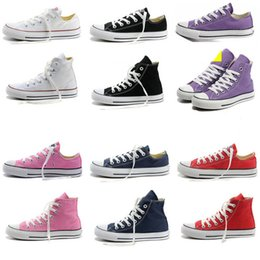 Wholesale Canvas High Shoes Australia - 2018 Fast shipping size35-46 Unisex Low-Top & High-Top Adult Women's Men's Canvas Shoes 15 colors sports Laced Up Casual Sneaker shoes