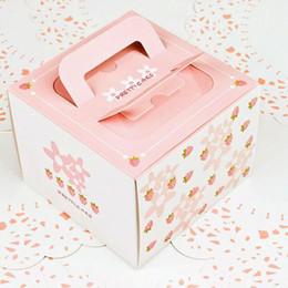 "Cupcake Bakeries Australia - 4"" inch Cake Box Bakery Package Pink Strawberry Decoration Hand Portable Cake Box Cheese Cake Dessert Boxes ZC0140"