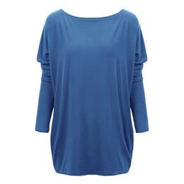 Oversized Batwing Shirts NZ - Women Tshirt Long Casual Tops Tunic Loose T-shirt Plus Size 3xl 4xl 5xl O Neck Batwing Long Sleeves Oversized Tunics Tees Shirts C19041001