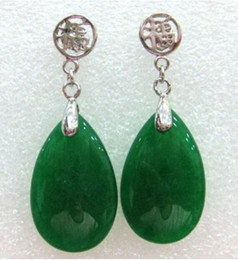 $enCountryForm.capitalKeyWord Australia - Jewelryr Jade Earring charm lady's green natural jade tear drop bless happiness earrings Free Shipping