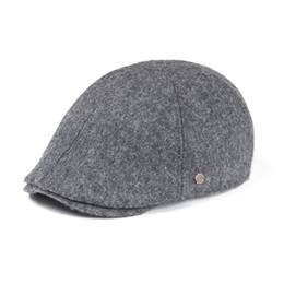 64b34ee2b6c wholesale Wool Tweed Flat Cap Mens Women Newsboy Caps Fall Winter Warmly 6  Panel Ivy Hat Gray Black Cabbie Driver Boina 183