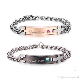 "True Love Chains Australia - Unique Gift for Lover Couple - ""True Love"" Couple Bracelets Titanium Stainless Steel Bracelet Bangle For Women Men Jewelry"