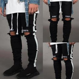 $enCountryForm.capitalKeyWord Australia - Mens Jeans Pants Casual Skinny White Side Jeans Hip Hop Broken Zipper Nightclub Pants Street Style Black and White