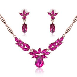 $enCountryForm.capitalKeyWord Australia - New Luxury Rose Gold Jewelry for Bride Crystal Wedding Bridal Jewelry Sets Charm Necklace Earrings Set 3 Colors
