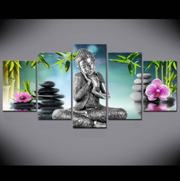 zen wall art Australia - 5 Pieces Buddha Canvas Wall Art Painting For Bed Room Decor Modern Buddha orchid Bamboo Water Zen Print Picture No Frame
