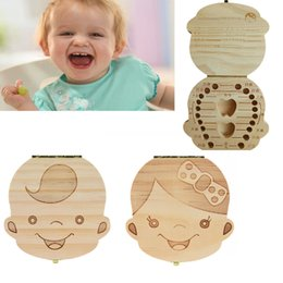 Baby Shoes Red White Australia - French Japanese Italian Russian German Portuguese Wood Tooth Box Girls Baby Kids Tooth Boxes Storage Baby Milk Teeth Case