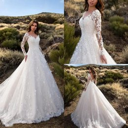 $enCountryForm.capitalKeyWord UK - Modest Wedding Dresses With Pockets Lace Appliqued Backless Bridal Gowns Sheer Jewel Neck Garden Country Wedding Dress