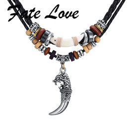 Wolf Pendant Men Australia - ecklace for men Fate Love Tibetan Beads Male Tribe Ethnic Leather Necklace For Men Wolf Fang Pendant Handmade Braided RopeTooth Jewelry ...