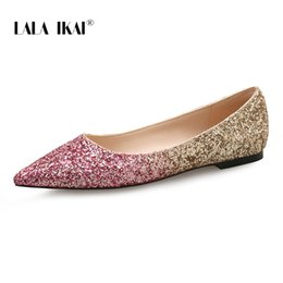 LALA IKAI Women Flat Shoes Slip-On Spring Summer Sequin Pointed Toe Flats  Shallow Drop-Shipping Wedding Shoes 014A3348-4 7829500e139b