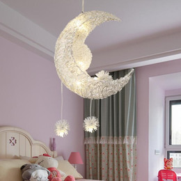 moon led ceiling light 2020 - Creative Moon Stars Fairy LED Pendant Lamp Chandelier Ceiling Light Kids Children Bedroom Decoration Warm White discount