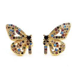 1 Pair Woman Beautiful Titanium Stainless Steel Butterfly Stud Earrings 3 Colors