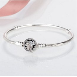 Wholesale Sterling Silver Toggle Bracelets Australia - S925 Sterling Silver Bracelet Pan Family Glittering Fiower Shaped Snake Chain Fashion Health Hand Jewelry Gift Bracelet