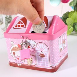$enCountryForm.capitalKeyWord Australia - Creative Cartoon Small Tin House Cute Piggy Bank Money Box Money-boxes Tinplate Saving Bank Best Gift for Children Kids