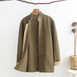 Wholesale green frock coat resale online – Men s Long Sleeve Cotton Linen Jacket Traditional Chinese Solid Tang Suit Coat Loose Male Frock Autumn drak green coat