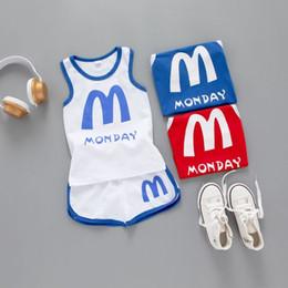 $enCountryForm.capitalKeyWord Australia - New children's summer suit fashion boy sleeveless + shorts suit baby suit clothing cotton vest design 3 color free shipping clothing