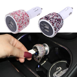 phone holder car cigarette lighter charger Australia - Dual USB Car Charger 3.1A Car Cigarette Lighter Crystal Diamond Universal Phone Holder USB Data Line Voltage Display A30