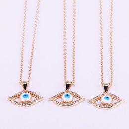 $enCountryForm.capitalKeyWord Australia - 10Pcs Gold color Cubic Zirconia micro pave Eye shape Pendant Necklace Women