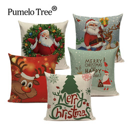 gift throw Australia - Cartoon Santa Claus Happy Christmas Cute Deer Decorative Merry Christmas Navidad Kerst Gift Bed Throw Pillows Case New Year 2020