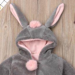 Baby Girl Jacket Ears Australia - Pudcoco New Brand Baby Girls Rabbit Ear Bunny Hoodies Coat Hoody Winter Jacket Outwear Snowsuit