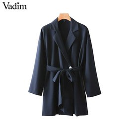 Discount women s belts bow - Vadim women stylish long trench coat bow tie sashes pockets notched collar female fashion outwear jacket tops CA514