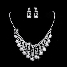 necklace crystal jewelry Australia - 50 sets lot,Lover Inlaid Pearl Austria Crystal Necklace Earring sets Made with Brand Crystal Glittering Bridal Luxurious brand party jewelry
