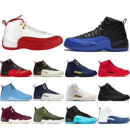 wrestling shoes 12 2019 - ELECAR SALE New 12 12s Game Royal FIBA Men Basketball Shoes CNY Michigan Gym Red NYC Bulls XII Mens Trainers Designer Sn