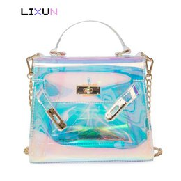 Handbag Plastic Transparent Bag Australia - Summer Women Plastic Messenger Handbag Transparent Rainbow Laser Chain Clear Tote Clutch Shoulder Crossbody Bag Evening Purse