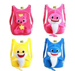 $enCountryForm.capitalKeyWord NZ - Baby Shark Plush Backpack Soft Toys School Bag Animal Toy Backpack Mini Cartoon Preschool Bag for Children Girls Boys MMA1466 20pcs