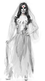 woman horror costumes 2019 - Hot Sale Halloween Horror Ghost Zombie Bride Lost Sexy Costume Women Girls Bar Stage Wear Party Vampire Demon Long Dress