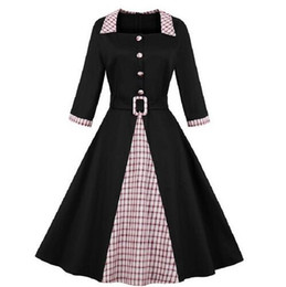 Wholesale black dresses big skirts for sale – plus size 2019 autumn and winter new women s dresses Europe and America hot sale large size stitching seven point sleeves big swing skirt