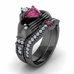 Copper Suits Australia - Fashion Jewelry Women's 18K Black Gold Plated Zircon Copper Engagement & Wedding Suit Ring Size 6-10