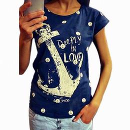 $enCountryForm.capitalKeyWord Australia - New Trends Summer Women T Shirt Anchor Letter Printed Cotton Short Sleeve Crew neck Loose Women T shirt 10 Style