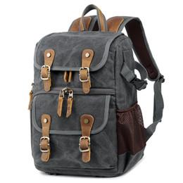 $enCountryForm.capitalKeyWord UK - Professional Leather Canvas Camera Bag Outdoor Waterproof Photography Backpack Vintage Shoulder Bags for DSLR Lens Accessories