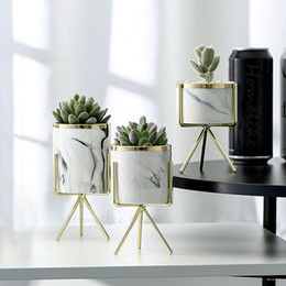 $enCountryForm.capitalKeyWord Australia - Cheap Flower Pots & Planters Set of 3pcs Marbling White Ceramic Flower Pots with Iron Stand Desktop Planters Home Garden Decoration with