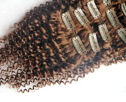 Virgin brazilian hair clip kinky online shopping - Light Brown Color Brazilian Virgin Kinky Curly Hair Extensions Clip In Human Hair Extensions Pieces Set Clip In Hair Extensions