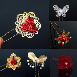 Red Gold Hair Australia - Hot 1PC Chinese bridal wedding girls clip gold color butterfly red flower pin For Women hair accessories C19010501