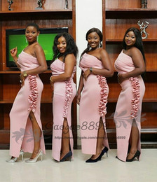 Long one shouLder bLush dress online shopping - Modest blush Pink split mermaid Bridesmaids Dresses long Nigerian african ankle Length one shoulder maid of honor gowns cheap