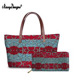 $enCountryForm.capitalKeyWord Australia - African Tradition Wax Ladies Hand Bags Red Tote Bags For Women Casual Top Handle Shopper Handbag Leather Wallet Money Bag Set