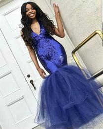 Black Formal Dresses South Africa Australia - 2019 Black Girls Prom Dresses V Neck Royal Blue Sequins Mermaid Tulle Floor Length South Africa Style 2K17 18 Formal Evening Occasion Dress