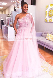 $enCountryForm.capitalKeyWord Australia - 2019 One Shoulder Pink Appliques Long Prom Dresses With Ribbon Black Girls Formal Party Gowns Illusion Bodice African Evening Dress Pageant