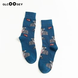 paintings american indians Australia - Men Socks American Indians Street Tide Cartoon Gorilla Dinosaur Dog Fox Face Painting Personality Long Socks Women Cotton socks